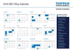 sec filing calendar one page